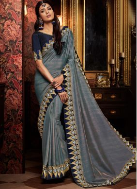 Grey Art Silk Patch Border Traditional Designer Saree