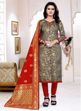 Grey Banarasi Silk Churidar Suit