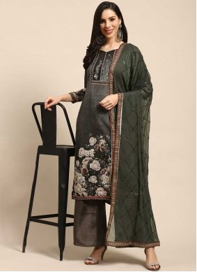 Grey Blended Cotton Designer Palazzo Suit