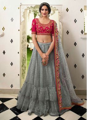 Grey Bridal Satin Silk Lehenga Choli