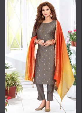 Grey Chanderi Engagement Readymade Suit