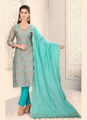 Grey Chanderi Fancy Churidar Designer Suit