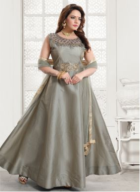 Grey Color Readymade Gown
