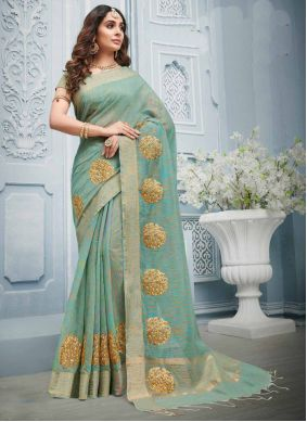 Grey Cotton Reception Designer Contemporary Style Saree