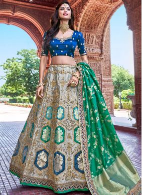Grey Embroidered Banarasi Silk Designer A Line Lehenga Choli