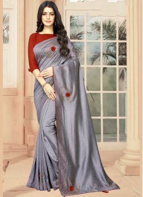 Grey Embroidered Casual Saree