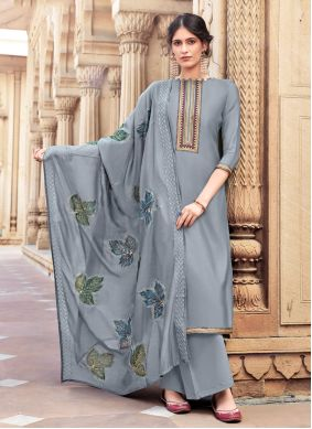 Grey Embroidered Cotton Silk Designer Palazzo Suit