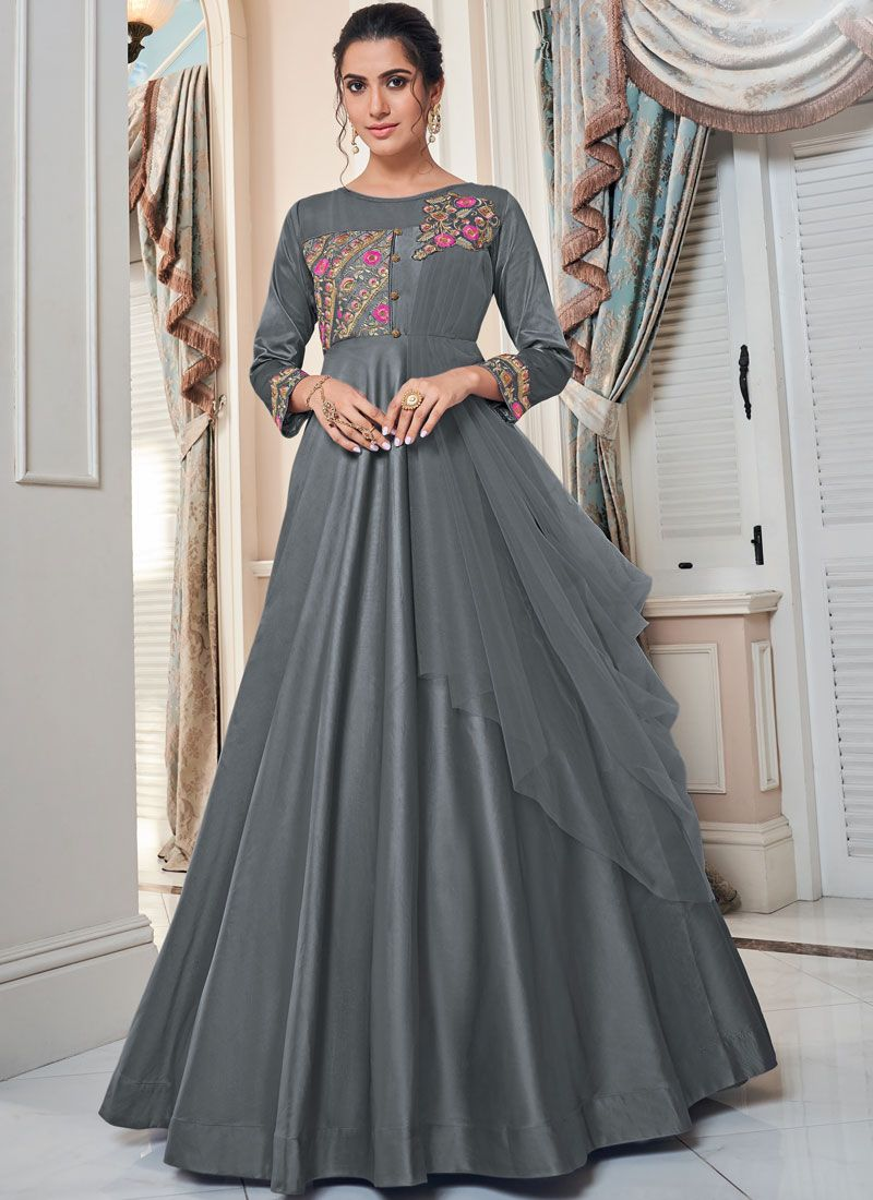 Grey Embroidered Designer Gown