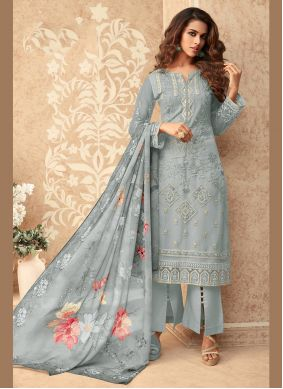 Grey Embroidered Designer Palazzo Suit