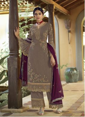 Grey Embroidered Faux Georgette Designer Palazzo Suit