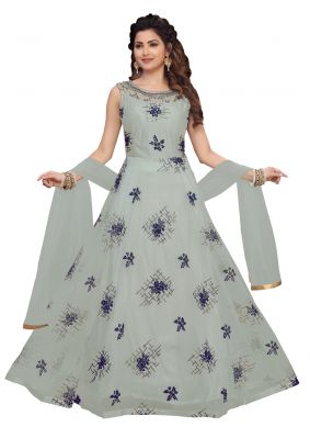 Grey Embroidered Georgette Ankle Length Salwar Suit