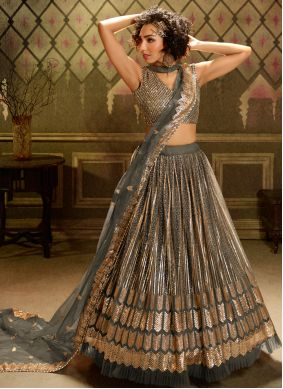 Grey Embroidered Net A Line Lehenga Choli