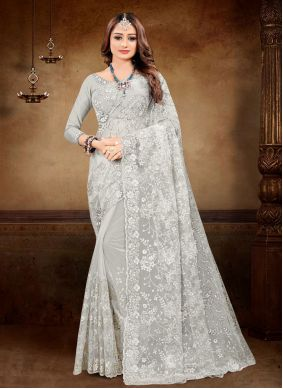 Grey Embroidered Net Classic Saree