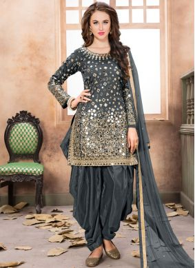 Grey Embroidered Net Patiala Salwar Kameez