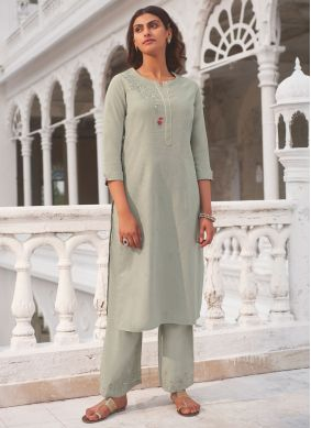 Grey Embroidered Party Casual Kurti