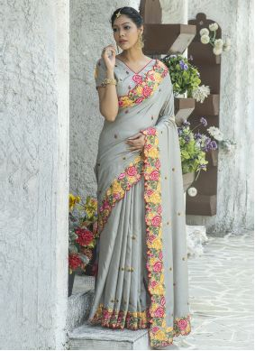 Grey Embroidered Traditional Saree