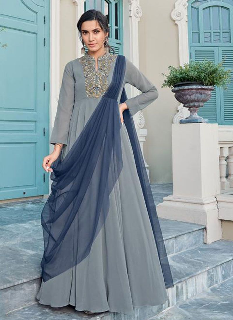 Grey Embroidered Trendy Gown