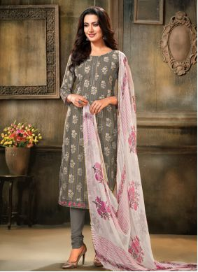 Grey Embroidered Trendy Salwar Kameez
