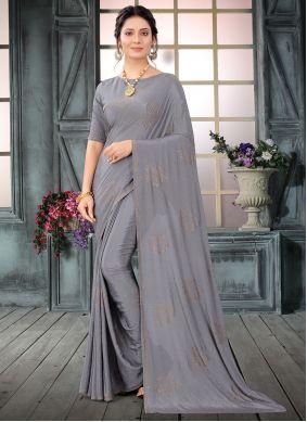 Grey Faux Crepe Mehndi Classic Designer Saree