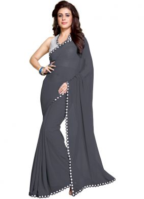 Grey Faux Georgette Casual Saree