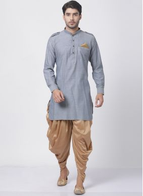 Grey Festival Blended Cotton Dhoti Kurta