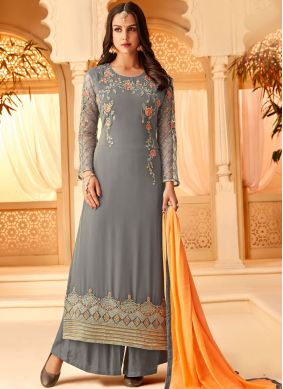 Grey Georgette Embroidered Designer Palazzo Salwar Suit