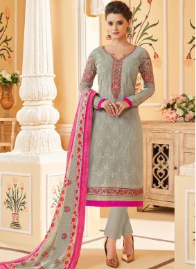 Grey Georgette Party Pant Style Suit