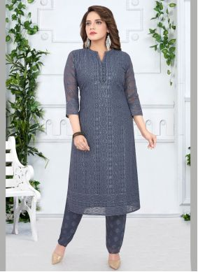 Grey Georgette Salwar Suit
