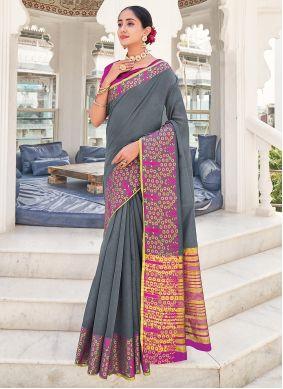 Grey Khadi Silk Weaving Saree