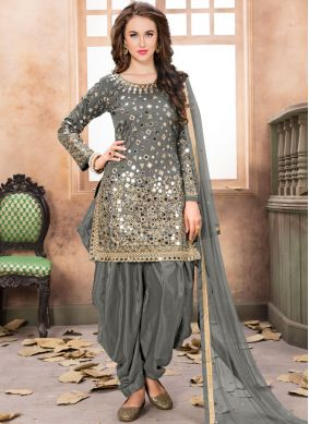 Grey Mirror Tafeta Silk Designer Patila Salwar Suit