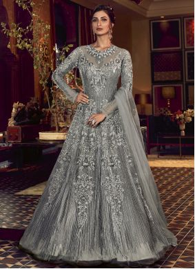 Grey Net Embroidered Floor Length Anarkali Salwar Suit