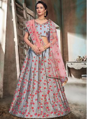 Grey Nylon Sangeet Trendy Lehenga Choli