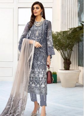 Grey Party Net Designer Salwar Suit