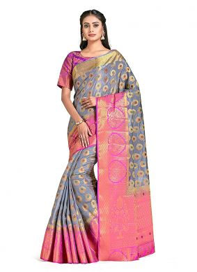 Grey Print Designer Traditional Saree