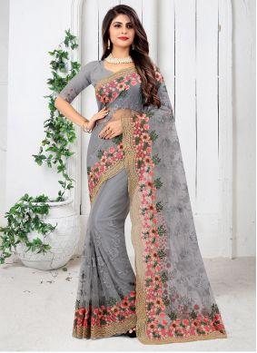 Grey Sangeet Designer Saree