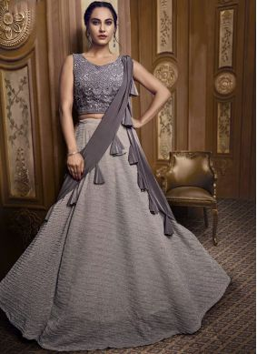 Grey Sangeet Fancy Fabric Designer Lehenga Choli