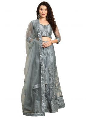 Grey Satin Lehenga Choli