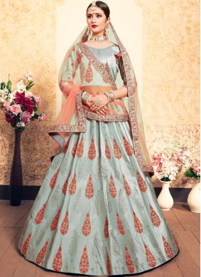 Grey Satin Wedding Designer Lehenga Choli