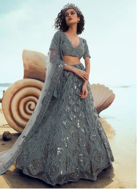 Grey Sequins Net Designer Lehenga Choli
