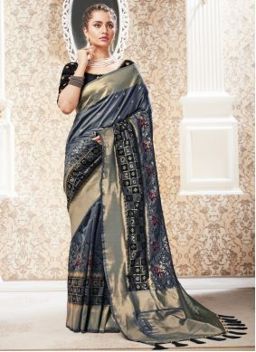 Grey Silk Reception Traditional Saree