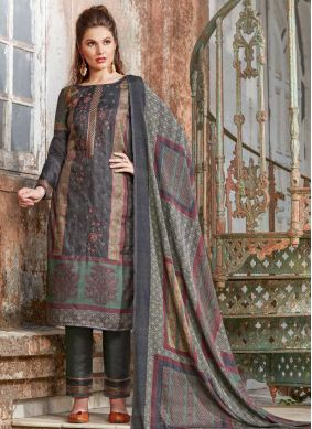 Grey Tussar Silk Pant Style Suit