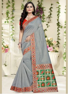 Grey Weaving Chanderi Cotton Traditional Saree