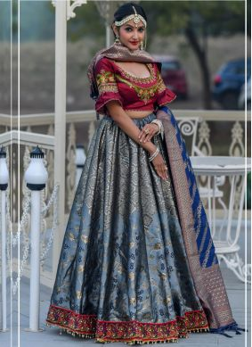 Grey Wedding Banarasi Silk A Line Lehenga Choli