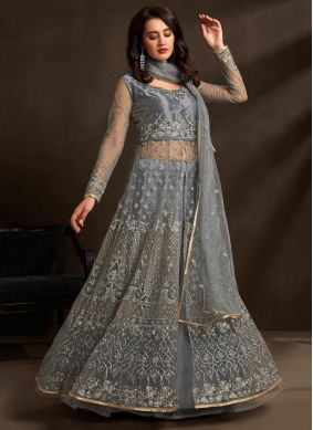 Grey Wedding Net Designer Lehenga Choli