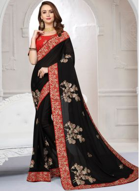 Gripping Black Ceremonial Designer Saree