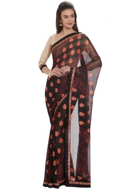 Gripping Faux Georgette Black Fancy Casual Saree