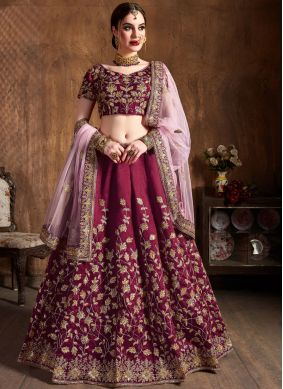 Gripping Magenta Lace Raw Silk Lehenga Choli