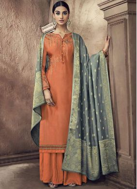 Gripping Orange Cotton Silk Designer Palazzo Suit