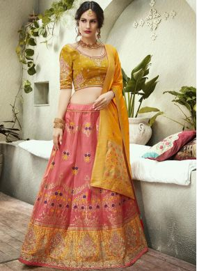 Gripping Pink and Yellow Embroidered Jacquard Silk Lehenga Choli