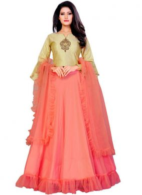 Gripping Silk Embroidered Peach Trendy Designer Lehenga Choli